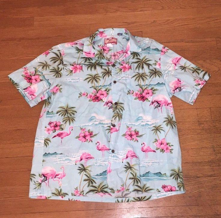 RJC Hawaiian Aloha Shirt Mens XL PINK FLAMINGOS Cotton Made in Hawaii Camp #RJC #Hawaiian
