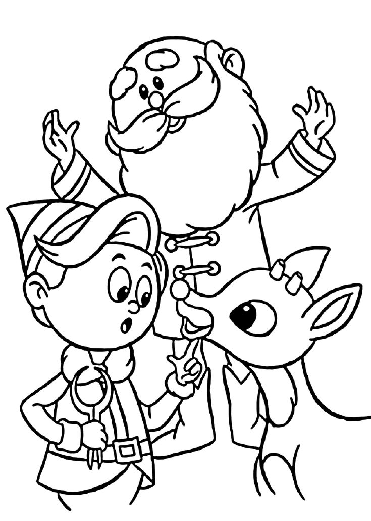Christmas Santa With Hermey And Rudolf Coloring Pages For Kids Printable Free