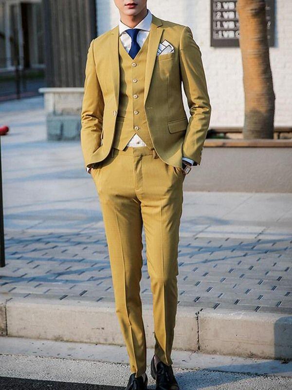 Solid Color Vogue Slim Three-Piece Men's Suit - Yellow