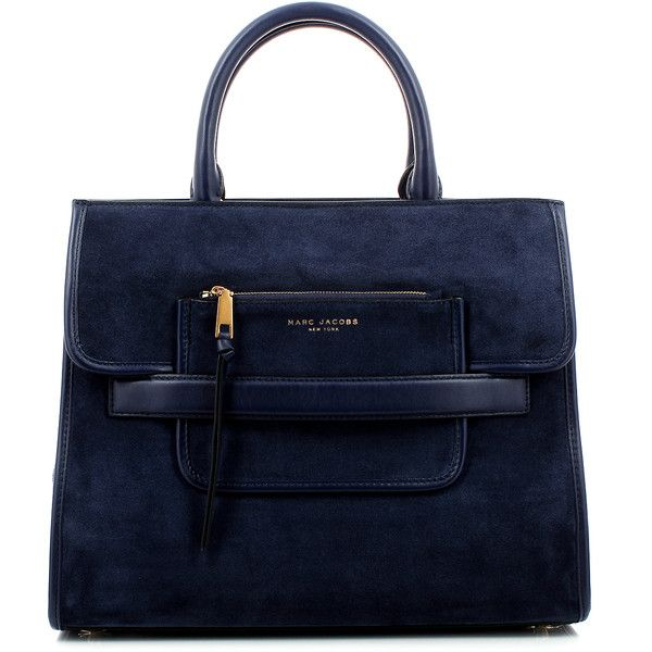 Marc Jacobs Madison Suede Ns Tote Midnight Blue Bag ($585) ❤ liked on Polyvore featuring bags, handbags, marc jacobs tote, tote purse, suede tote, zippered tote and blue purse
