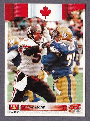 Irv Daymond CFL card 1992 All World #50 Ottawa Rough Riders  Western Ontario Mustangs