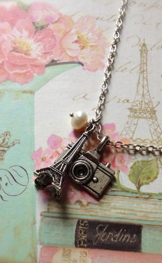 Paris Necklace with Eiffel Tower and Camera Charms