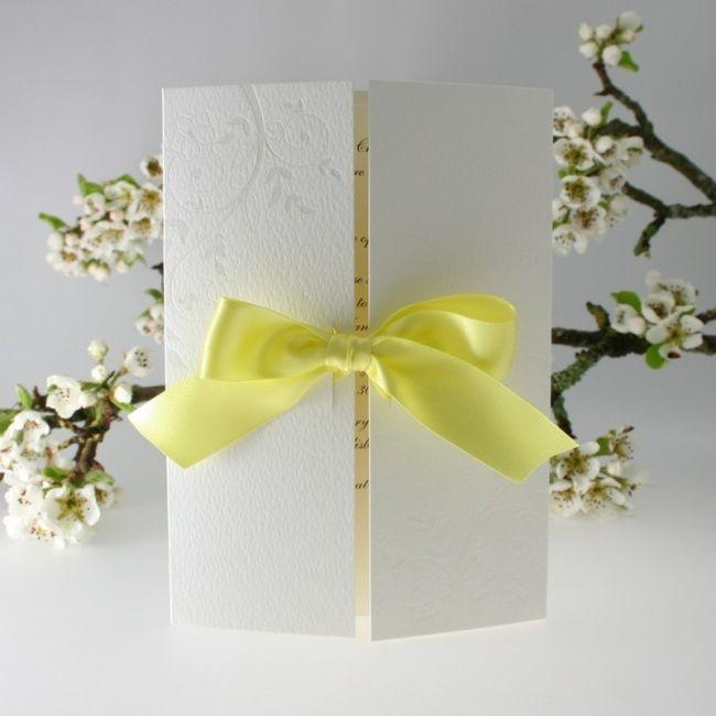 Invitation for a yellow wedding theme.