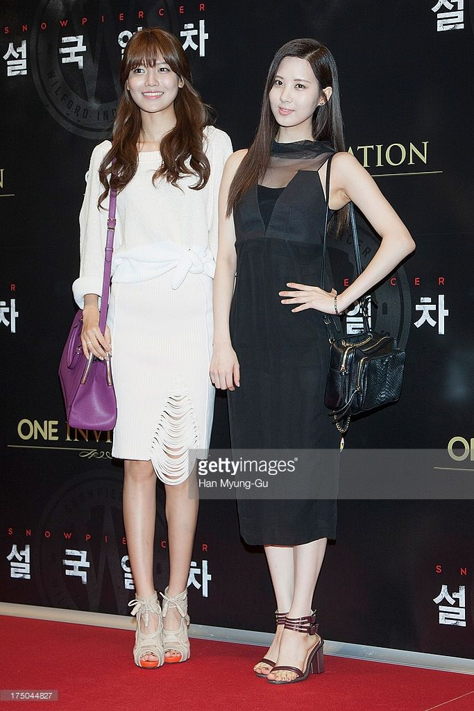 Sooyoung and Seohyun of South Korean girl group Girls' Generation attend the 'Snowpiercer' South Korea premiere at Times Square on July 29, 2013 in Seoul, South Korea. The film will open on August 1, in South Korea.