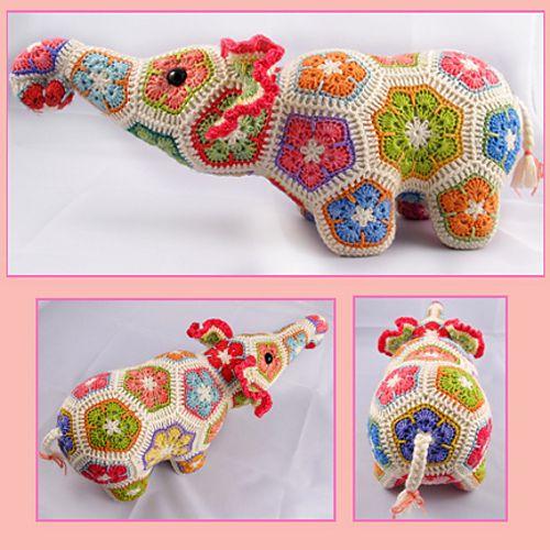 Nellie the Elephant African Flower Crochet Pattern pattern by Heidi Bears...