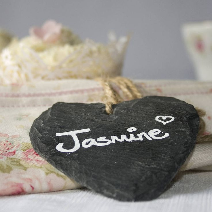 set of four slate heart place markers by wedding in a teacup | notonthehighstreet.com