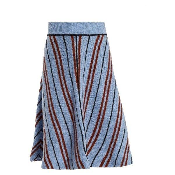 Miu Miu A-line chevron-striped intarsia-knit wool skirt (71.375 RUB) ❤ liked on Polyvore featuring skirts, blue multi, miu miu, knee length a line skirt, patterned skirts, long skirts and long patterned skirt