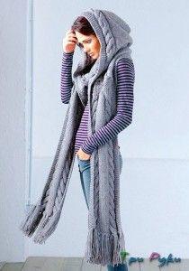 Длинный шарф-капюшон вязание спицами
