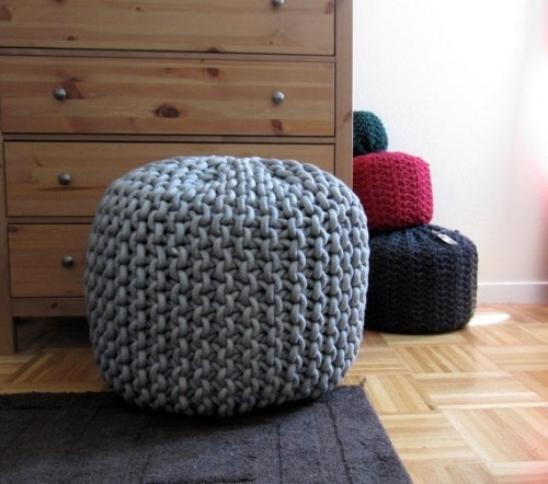Giant Knit Rope Pouf Pattern by Mary Marie Knits modern ottomans and cubes