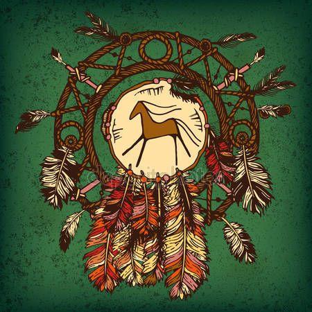Descargar - Nativos americanos indios atrapasueños, símbolo tradicional. Tarjeta brillante con plumas de colores y perlas sobre fondo verde — Ilustración de Stock #119795554