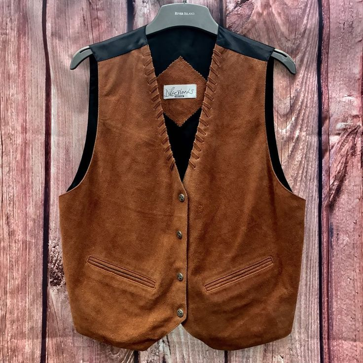 Woman's Pure Leather Waistcoat Directions Brown Hyde look plus size Back Cowgirl