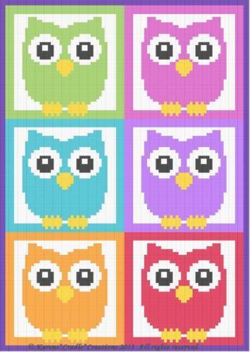 Crochet Patterns Owls More Owls Color Graph Afghan Pattern Scrap Yarn   eBay