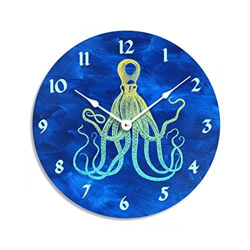 Vintage octopus design on dark blue acrylic painted background 10 inch wall clock. Dark blue, yellow and green colors. This is a vintage octopus design on dark blue background. Dark blue, yellow and green colors. The clock is approximately 10 inches diameter on a pvc substrate. The clock face is printed with archival inks on a matt medium that that can be seen with no glare from any angle. The back and sides of the clock are a charcoal grey color that beautifully accents the design. This…