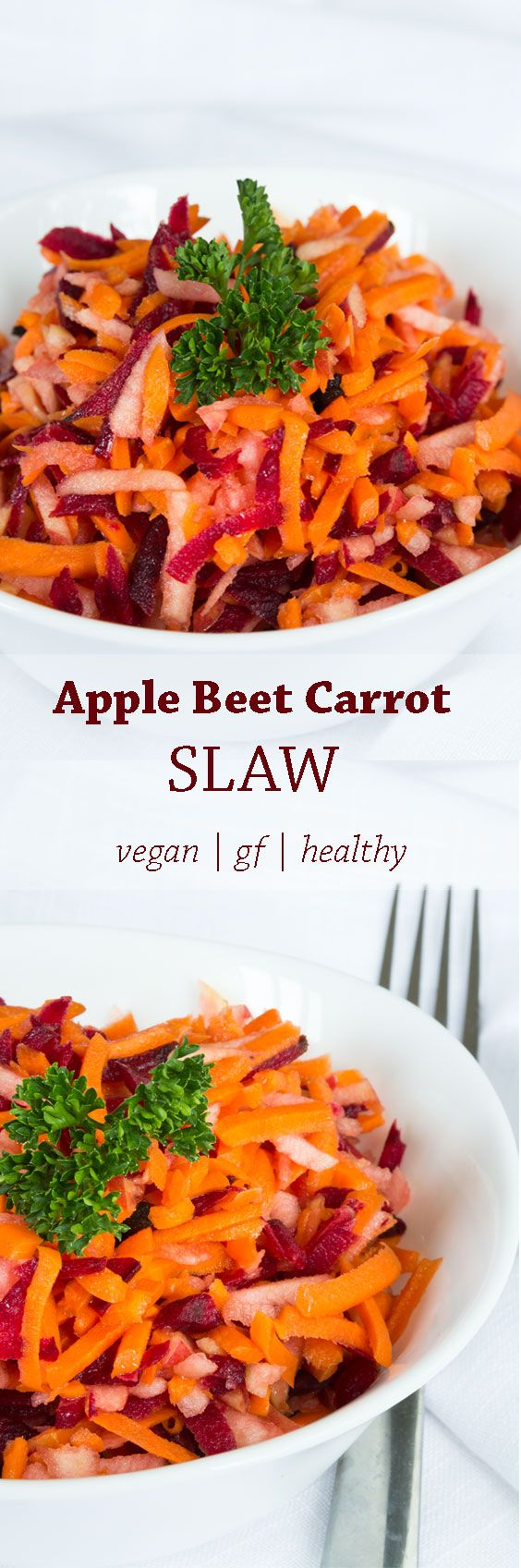 Apple Beet Carrot Slaw with Honey Dressing that is crisp, vibrant, and full of flavor. The original recipe comes from Joy McCarthy's book Joyous Health.