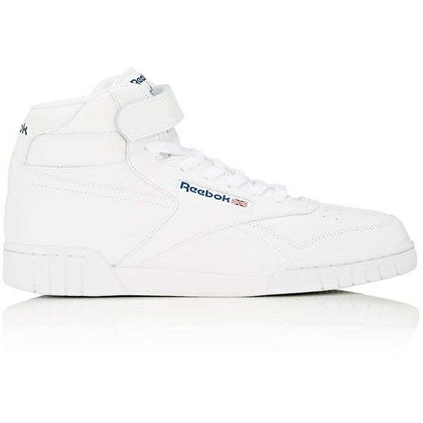 Reebok Men's Ex-O-Fit Leather Sneakers ($75) ❤ liked on Polyvore featuring men's fashion, men's shoes, men's sneakers, white, mens hi tops, mens white high tops, mens white high top sneakers, mens leather shoes and mens white leather sneakers
