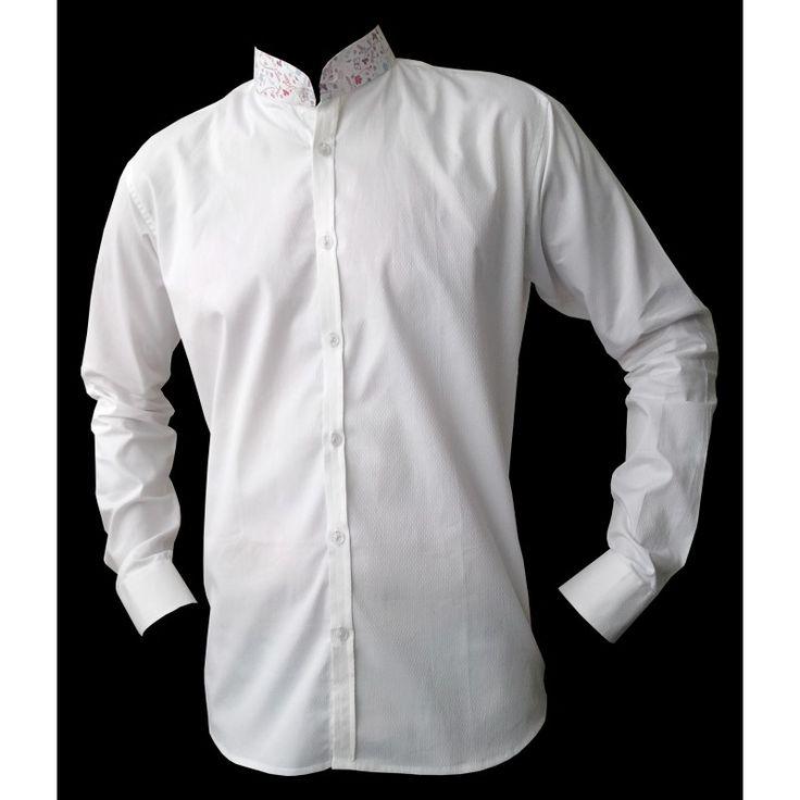 chemise homme blanche col mao imprim une chemise. Black Bedroom Furniture Sets. Home Design Ideas