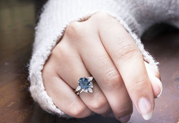 Blue Oval Sapphire Engagement Ring