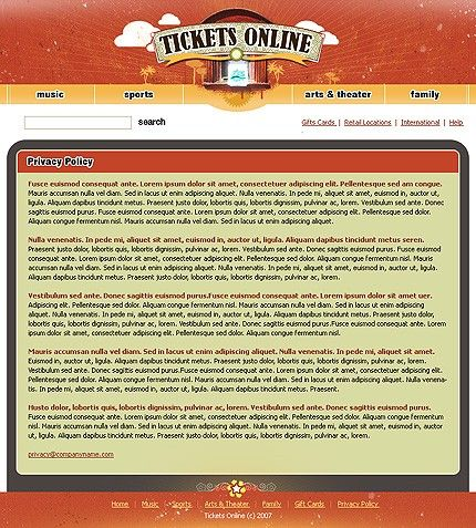 Tickets Online Website Templates by Matrix