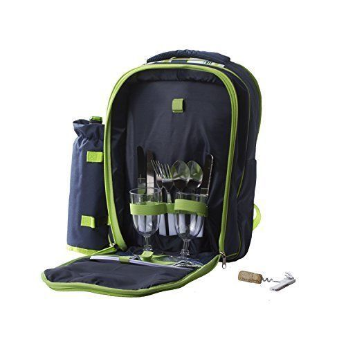Picnic Basket Cooler Backpack Two Place Setting Outdoor Camping BBQ Wine Bottle  #ImperialHomePicnic