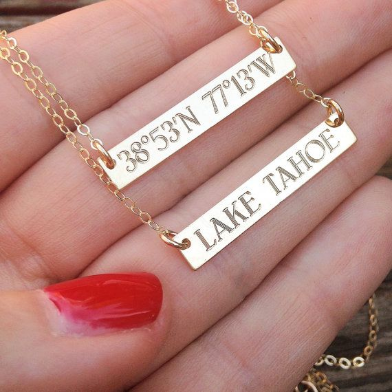 Cute for someone who moves away: Longitude and Latitude of home. GPS COORDINATES necklace gold coordinate silver by MyBelovedCo