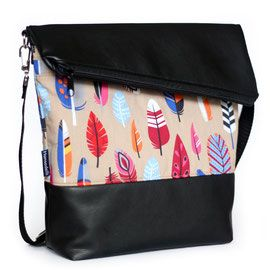 Fold Over FoldOver Tasche nähen, Überschlagtasche nähen, Tasche mit Überschlag nähen, Umhängetasche mit schräger Klappe nähen, Hansedelli, Ebook, Nähanleitung, nähen für Anfänger, Tasche mit Federn, Bohemian, Boho