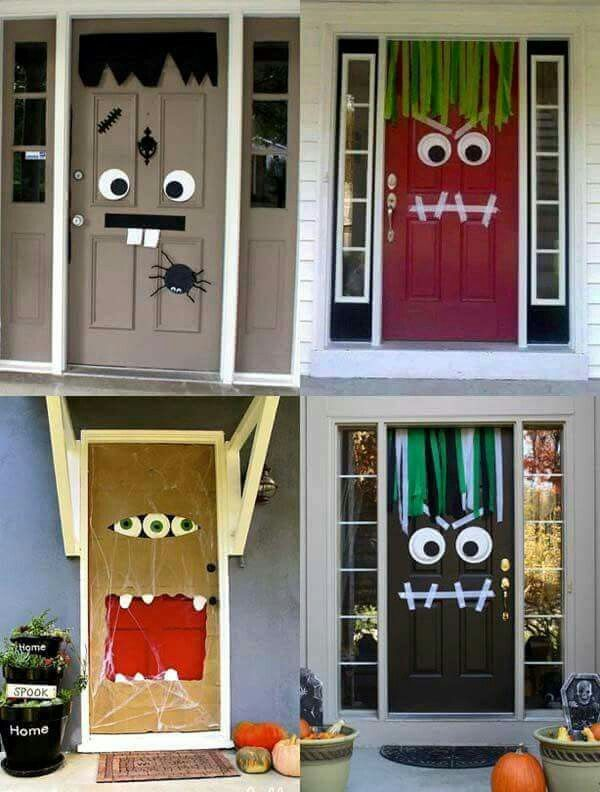 Halloween door decor. Mummies and monsters. Such an adorable idea. For an added bonus, get the extra large Googley eyes for when the door moves.