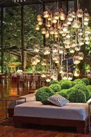 The 25 best balcony lighting ideas on pinterest outside garden outdoor lighting dollar store vases tea lights wire hung and strung with clear aloadofball Image collections