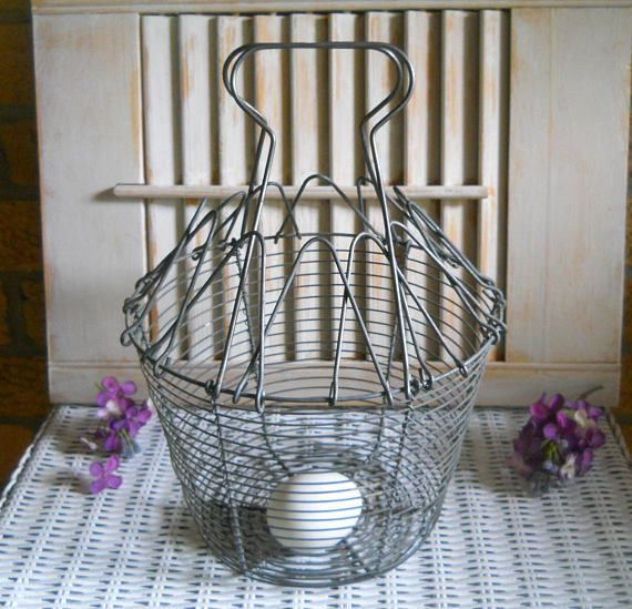 French Wire Egg Basket Rustic Fruit Basket  Farmhouse Decor