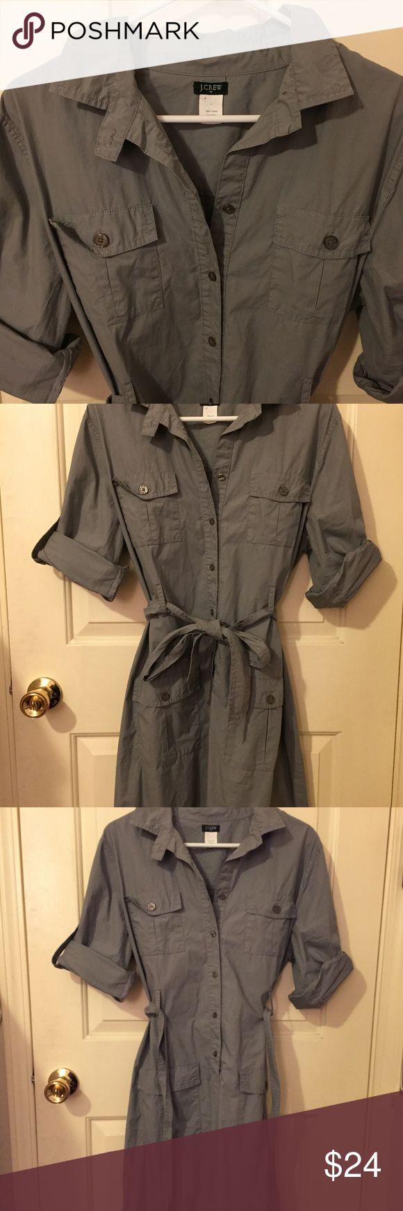 J. Crew Grey Utility Cargo Shirt Dress Size Large! J Crew Utility Button down Cargo Dress. 100% cotton with belt! J. Crew Dresses