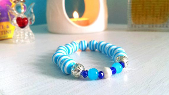 Genuine Blue Fluorite Gemstone Healing Spiritual Mala Yoga bracelet. Real Silver Spacer Beads. FOR SALE NOW only 1 ever made