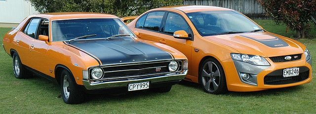 35 years apart. Ford Falcon V8 GT