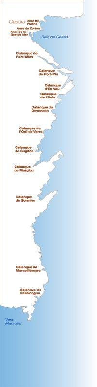 Carte des calanque de Cassis à Marseille La seule calanque de Cassis est celle de Port Miou, vu ? :)