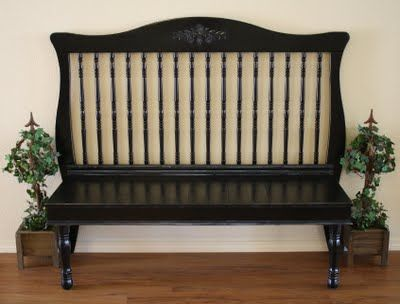 Turn old crib into bench! wow love it