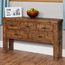 Nara Rough Sawn solid oak furniture large console hall table