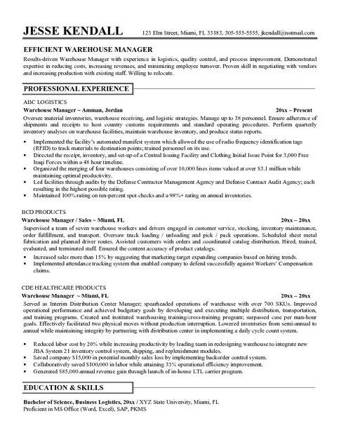 Best  Warehouse Worker Ideas On   Resume Objective