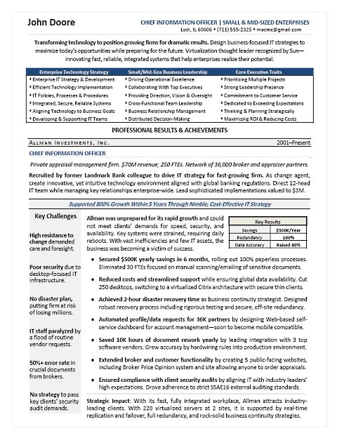 cio page 1 - Sample Cio Resume