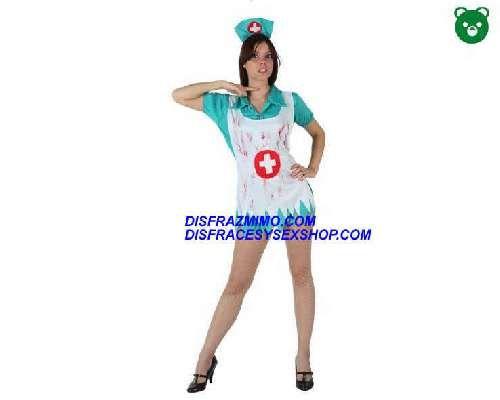 Tu mejor disfraz de enfermera sangrienta de mujer ats 97227.El disfraz de enfermera zombi para mujer original es ideal para Halloween,El vestido es corto, verde, desgarrado y ensangrentado.