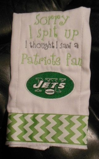 Sorry I spit up... New York Jets by Mimi4Me on Etsy (Accessories, Baby Accessories, baby, burp rag, burp cloth, gift, shower, New York Jets, Jets, spit up, team spirit, football, football team)