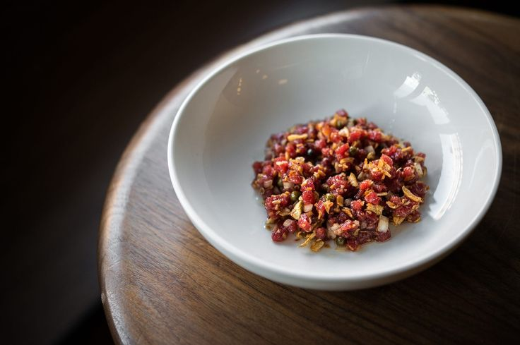 Beef tartare with sunchoke at Estela, NYC  damn damn good