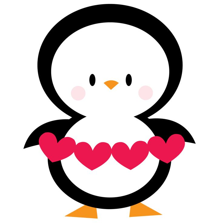 Penguin with hearts