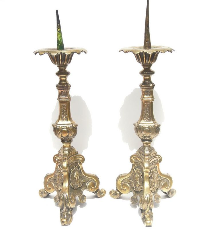 Pair of French 17th Century Cast Brass Alter Candlesticks