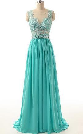 Vnaix B203 2016 Hot Sale Cheap Turquoise Dresses Sheer Neck Back See Through Turquoise Blue Long Bridesmaid Dress