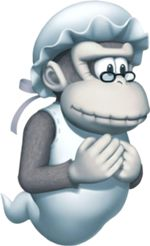 Wrinkly Kong - Donkey Kong;  wife of Cranky Kong and grandmother of Donkey Kong. She is also an intelligent ally of the Kongs. Regardless of her death after Donkey Kong Land 3, her spirit continues participating in games, and aiding the other Kongs.  In most of the games she appears in, she provides information or hints. She has been playable only in 2 games. She also made an appearance in one comic.