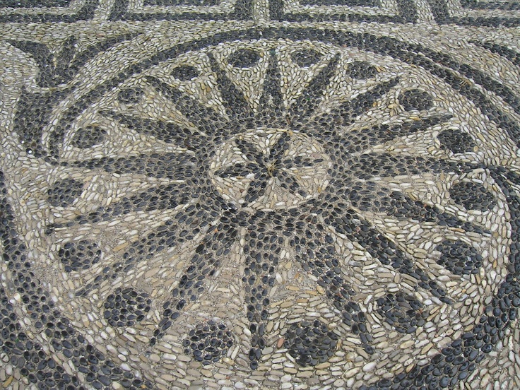 pebble mosaic rosette in Chios, Greece