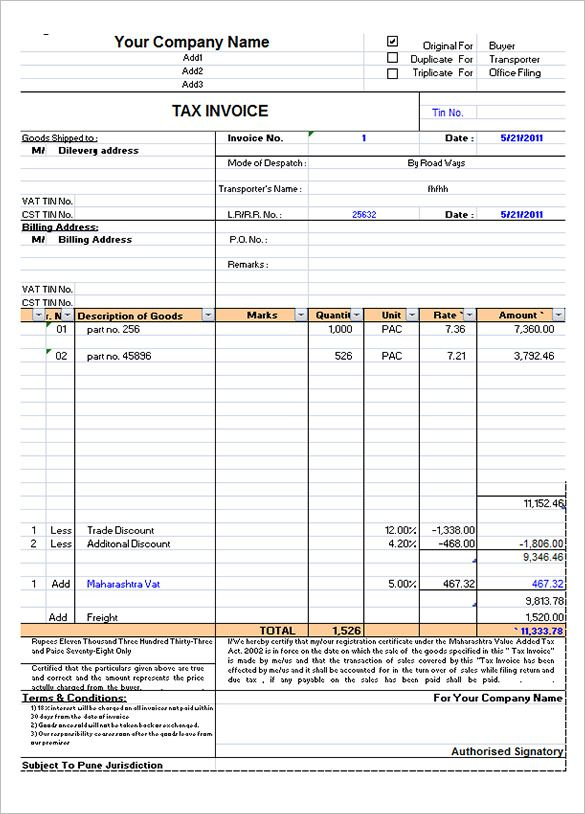 Free Download Tax Invoice Format In Excel Invoice Format