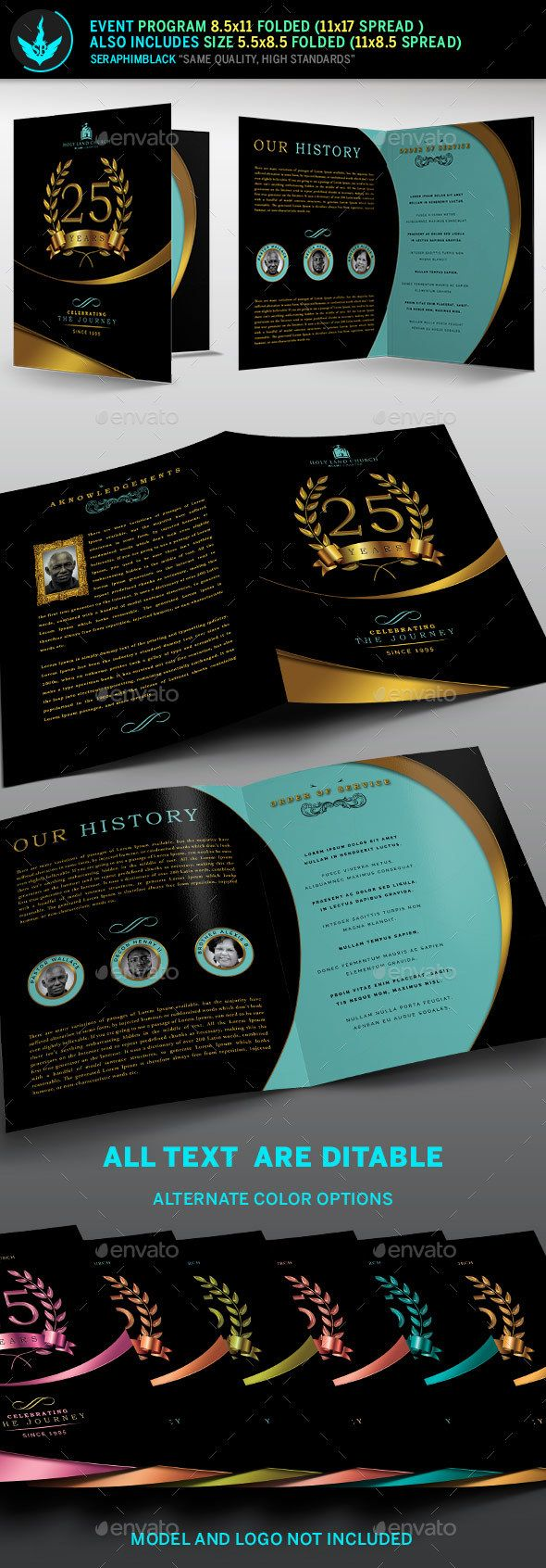 Gold Black plus Teal Anniversary Program Template — PSD Template #auction #souvenir book • Download ➝ https://graphicriver.net/item/gold-black-plus-teal-anniversary-program-template/18180609?ref=pxcr