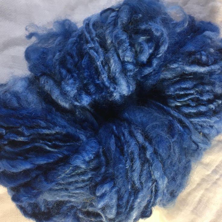 Blue English Leicester  Handspun Chunky Yarn by hawthornecottage on Etsy