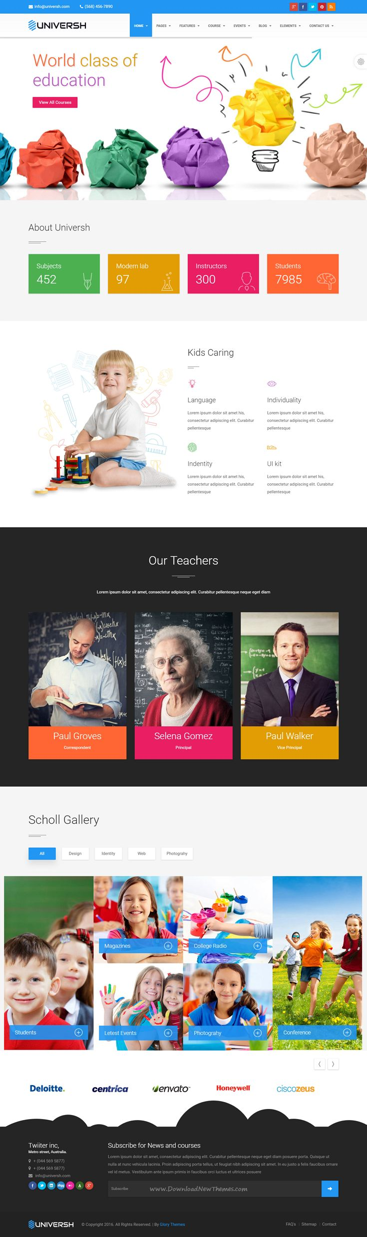 Universh material education events news learning centre kid school multipurpose html template