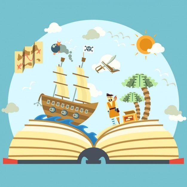 Livro da história do pirata Vetor grátis