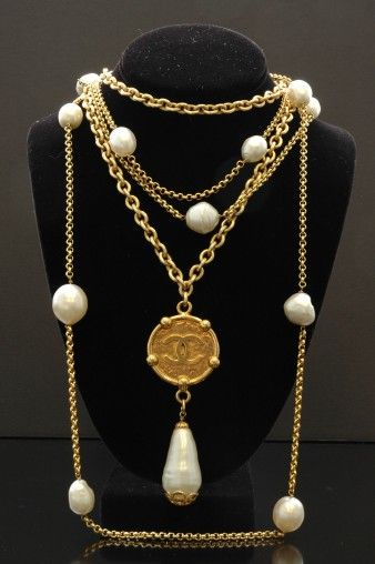 Vintage Chanel CC Medallion with Pearl Pendant | Vintage Designer Costume Jewelry | Absoluxe